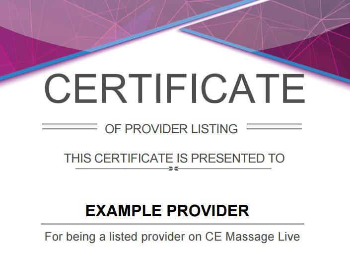 Provider Certificate
