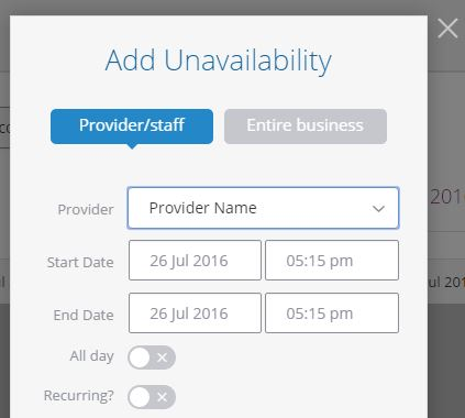 Add Unavailability